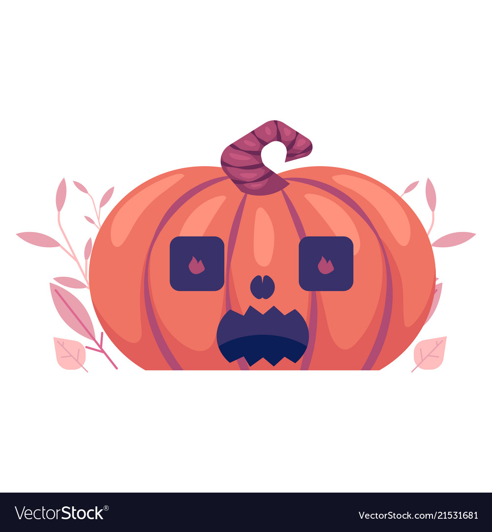 Flat spooky pumpkin with scary face jack o