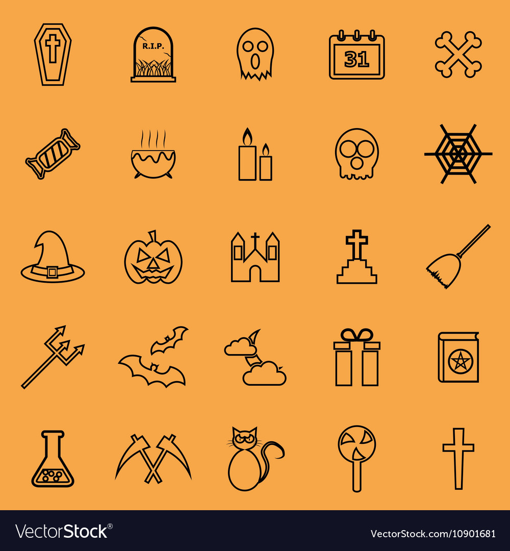 Halloween line color icons on orange background