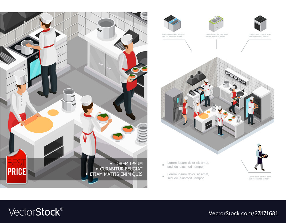 Isometric restaurant kitchen interior concept