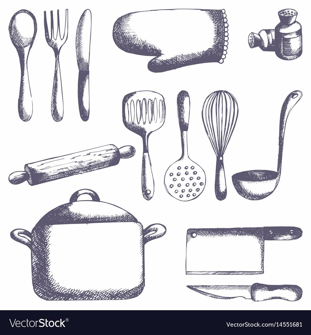 Kitchen Tools Set Hand Drawing Royalty Free Vector Image