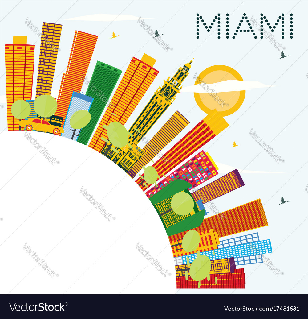 Miami skyline with color buildings blue sky and