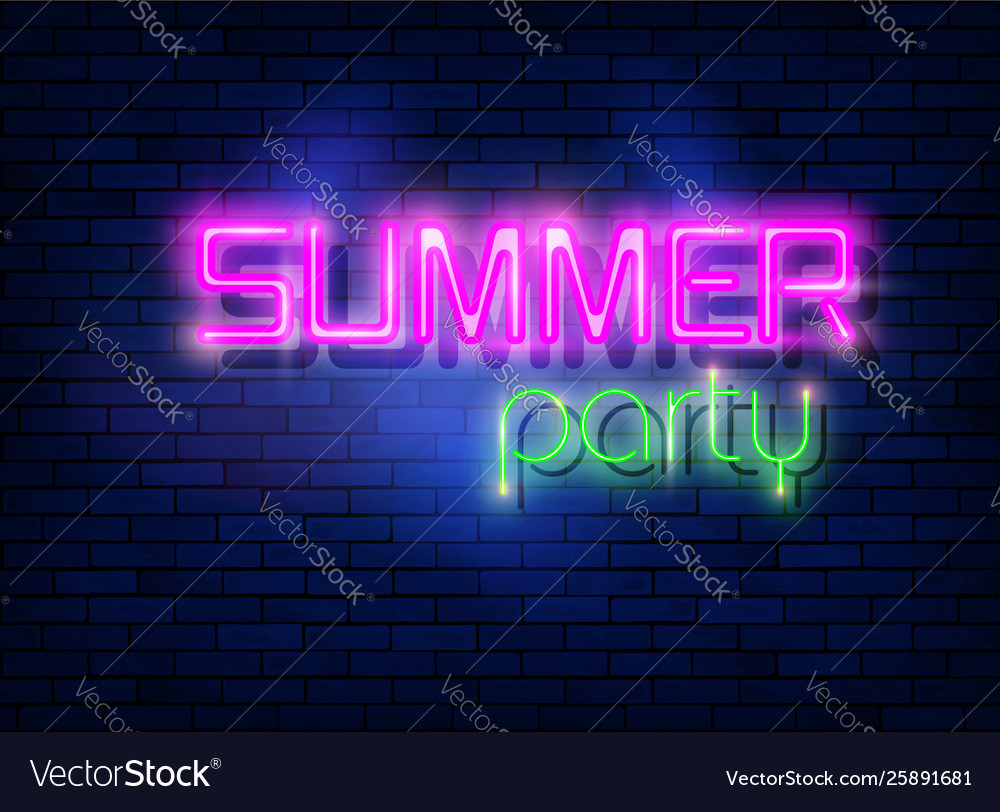 Neon summer night party tropical party design
