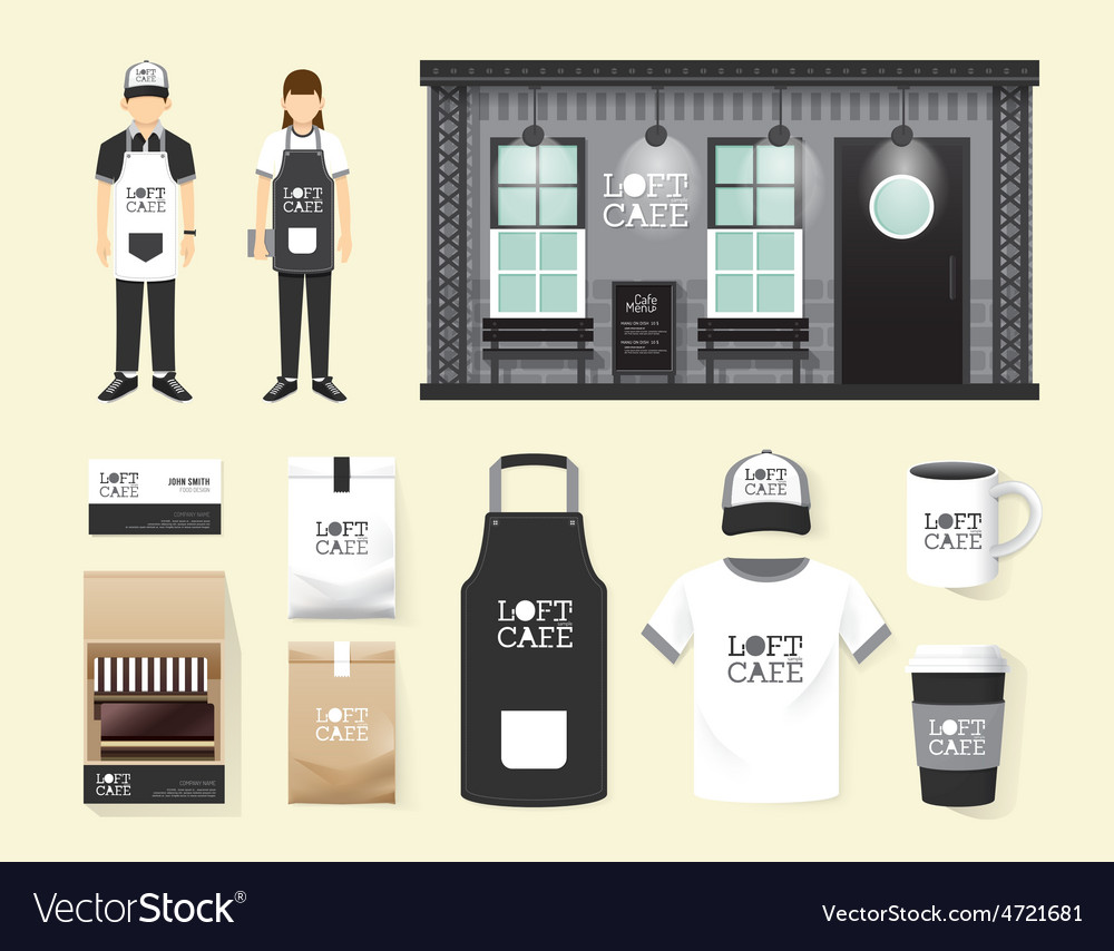 Restaurant cafe set shop front design flyer menu