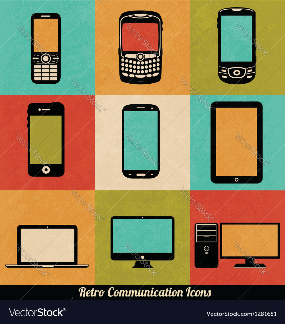 Retro Connection Icons vector image