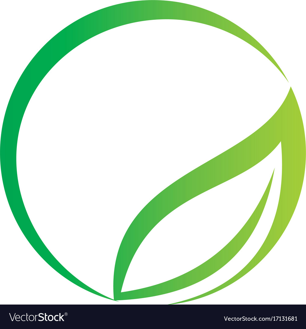 Round abstract green leaf organic logo