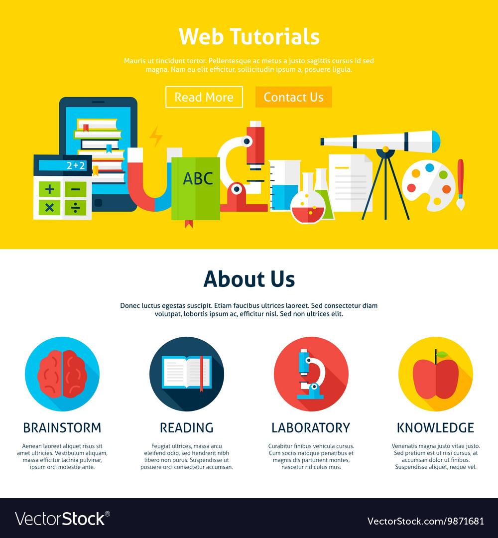 Web Tutorials Flat Web Design Template Royalty Free Vector