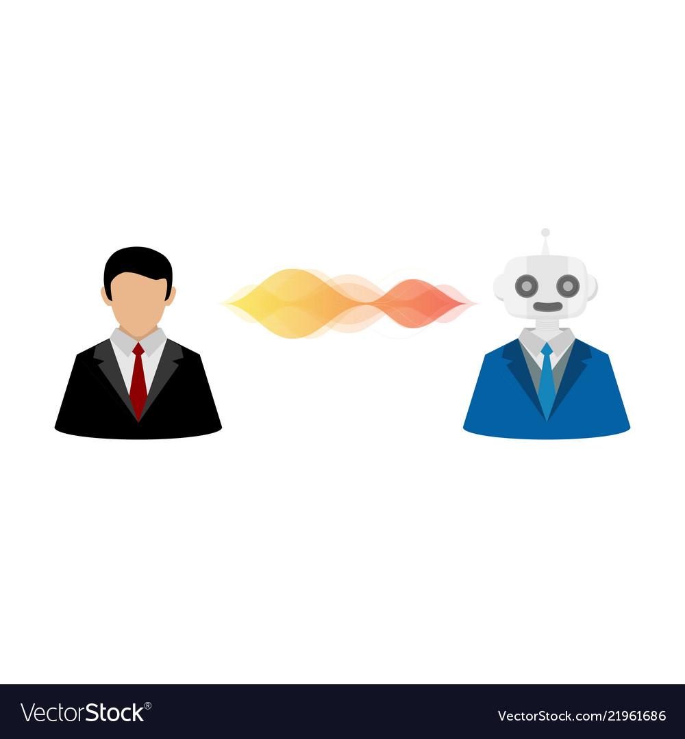 Businessman user and robot