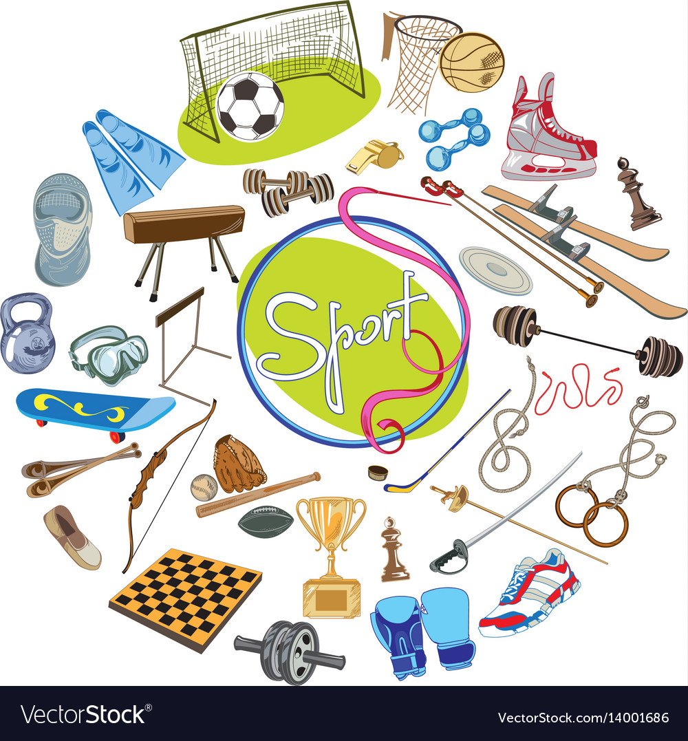 Colorful drawing sports concept