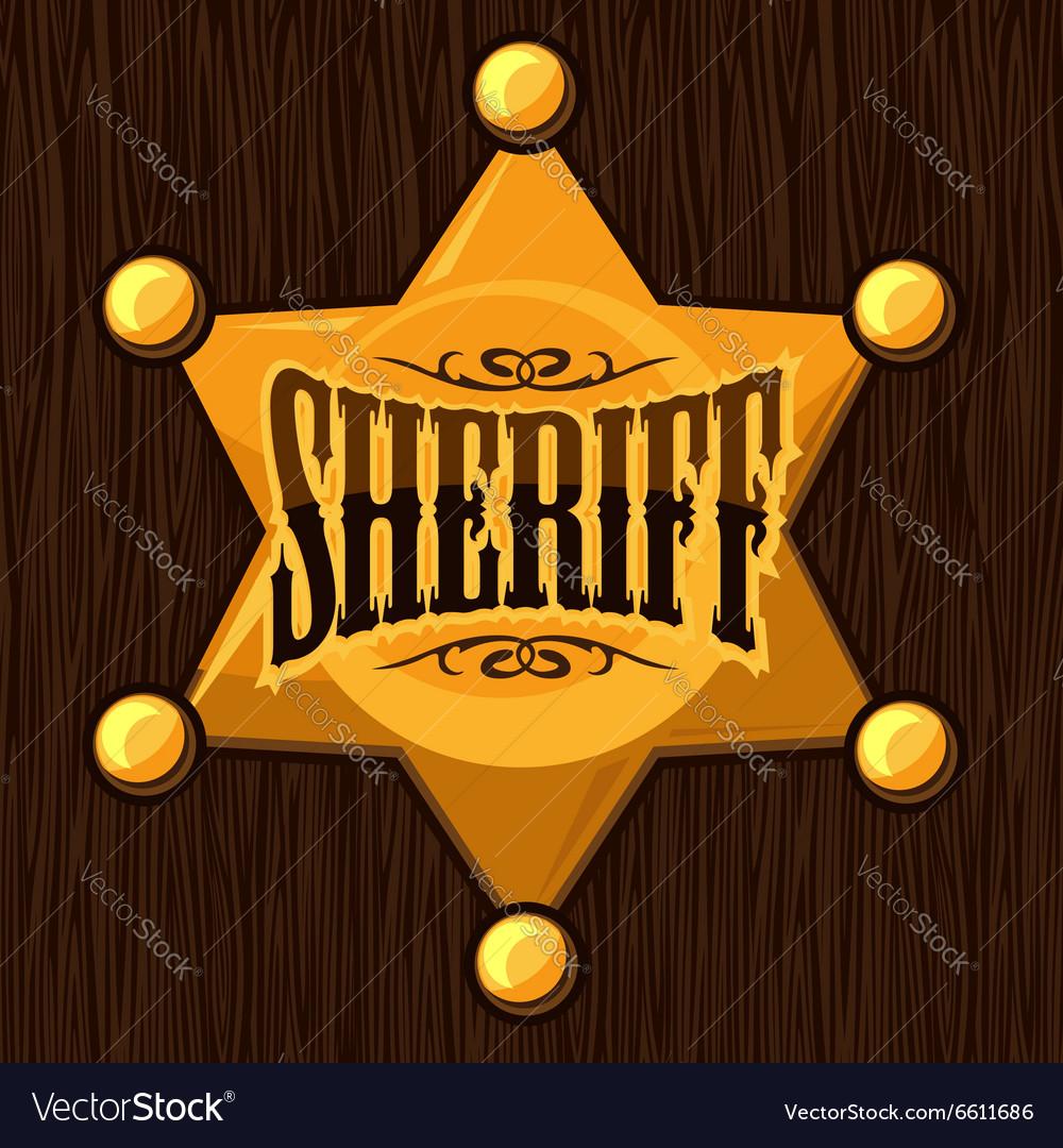 Golden sheriff star badge on
