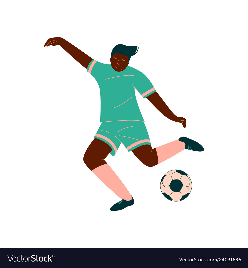 Male soccer player kicking ball african american