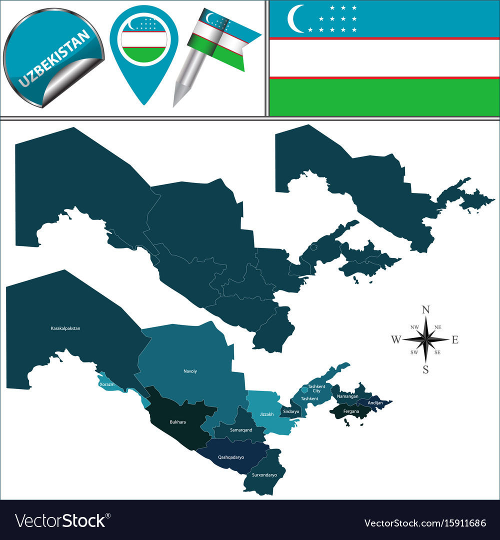 Image of: Map Of Uzbekistan With Regions Royalty Free Vector Image