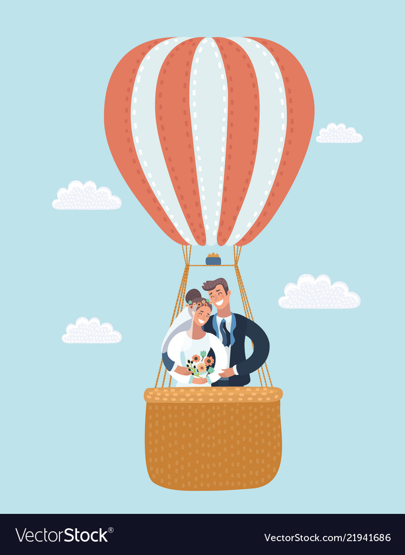 Newlyweds in a hot air balloon