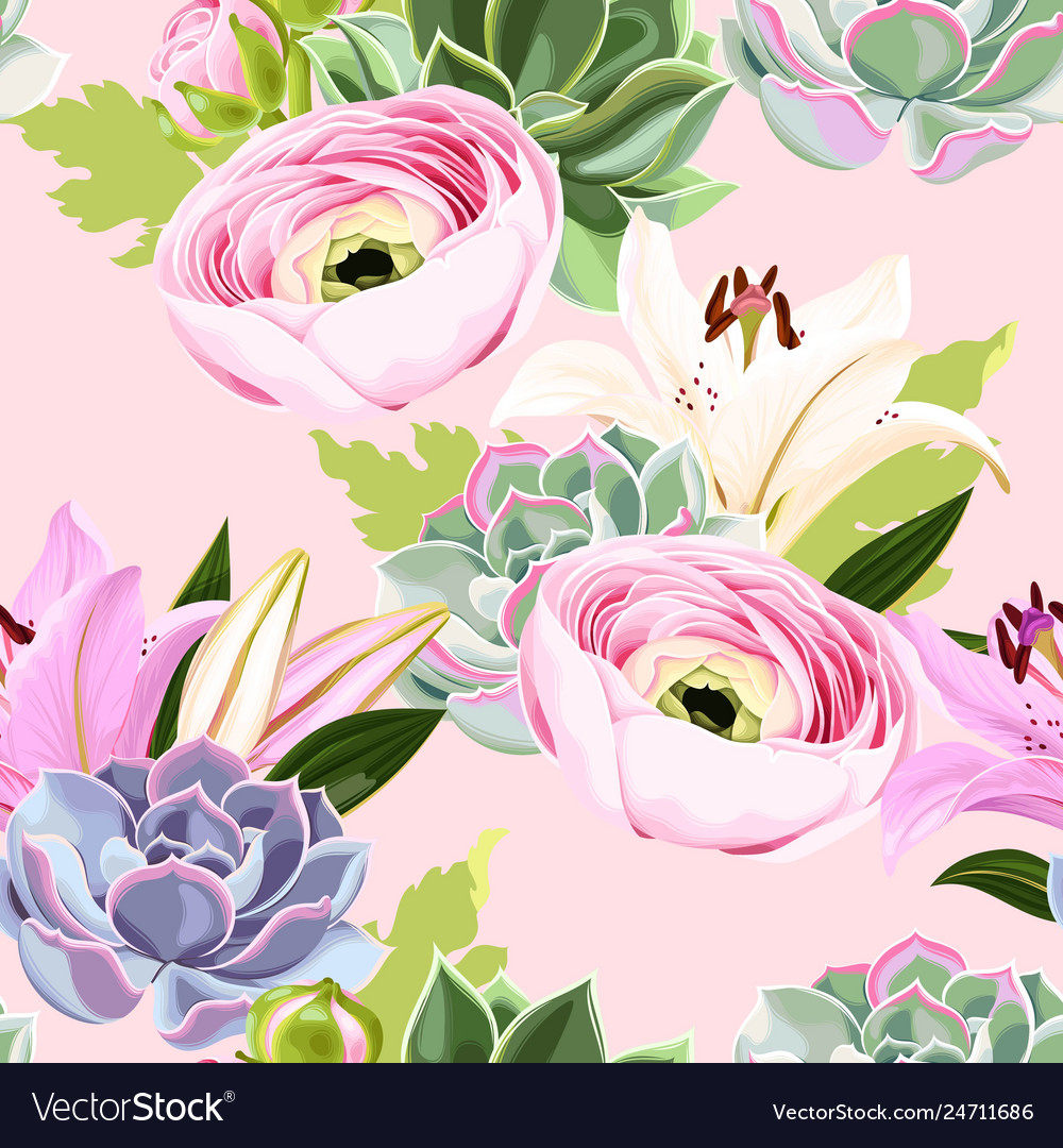 Seamless pattern with succulent and flower