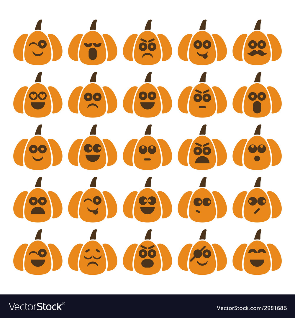 Set of pumpkins with different emotions
