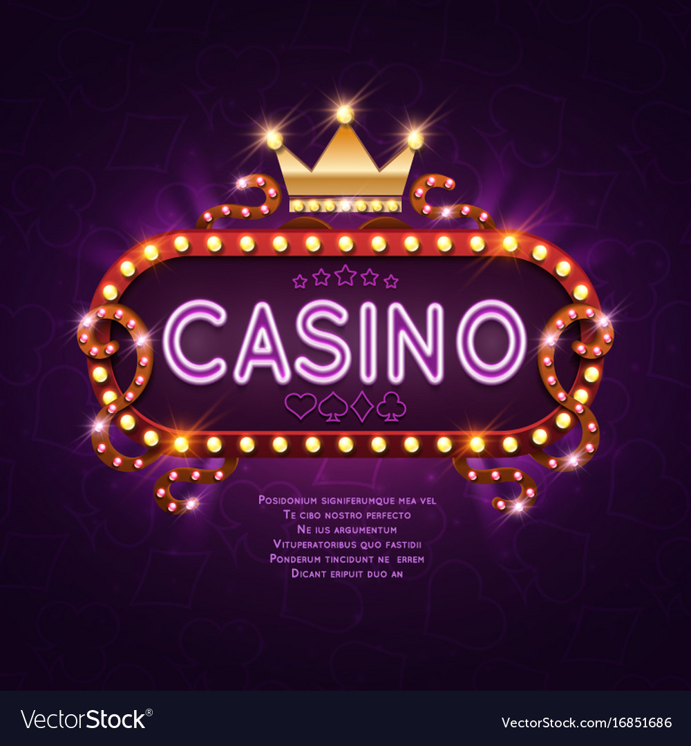 Vegas casino retro light sign for game background