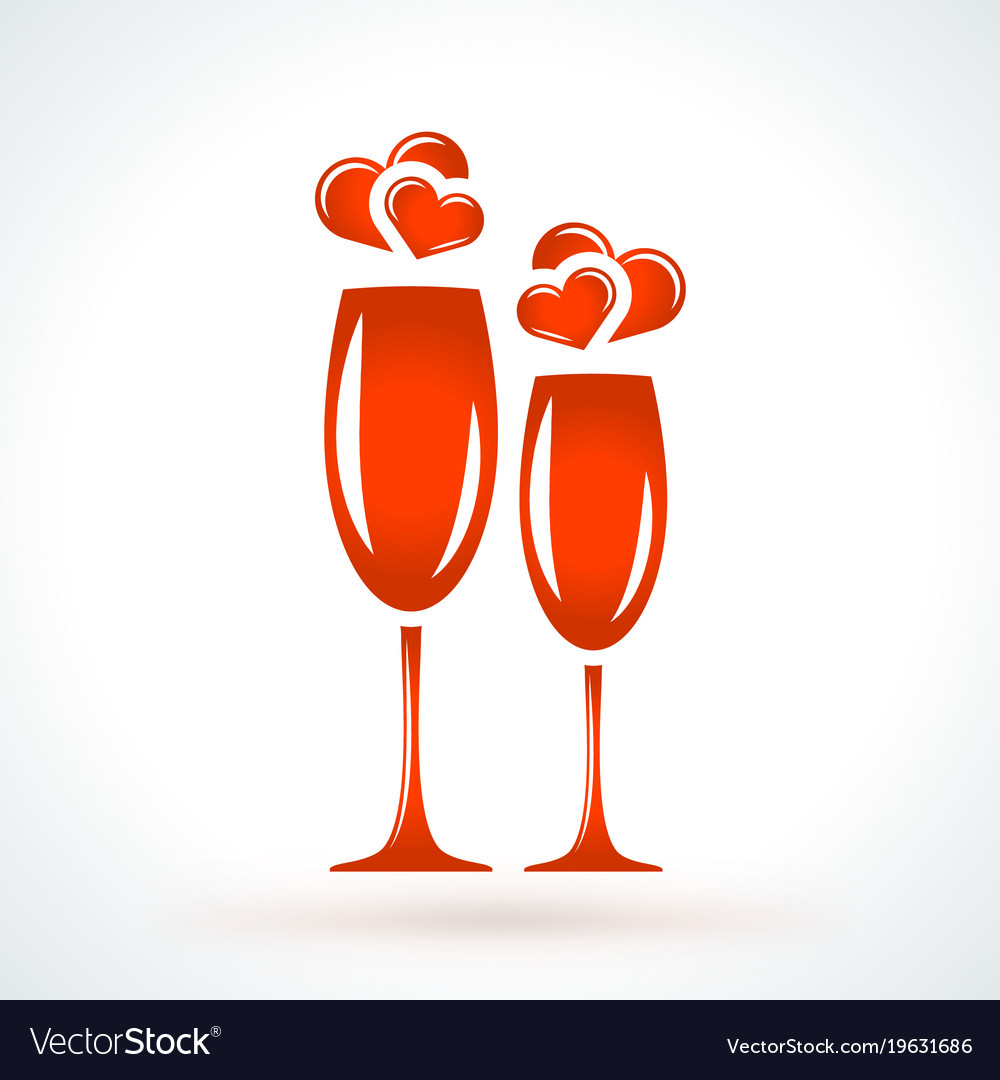 Wine Glasses With Hearts St Valentines Day Design Vector Image