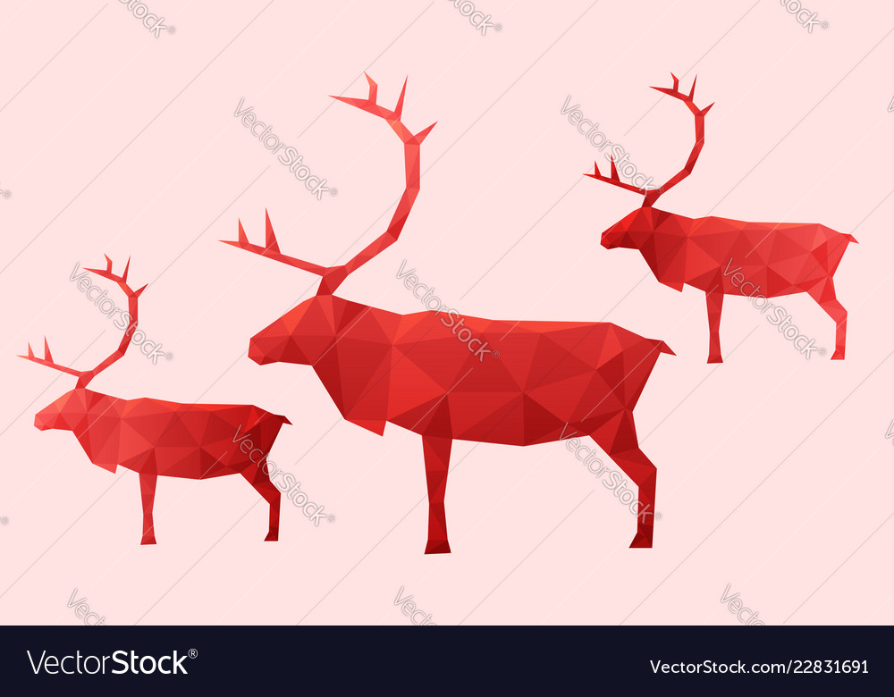 3 red abstract reindeer