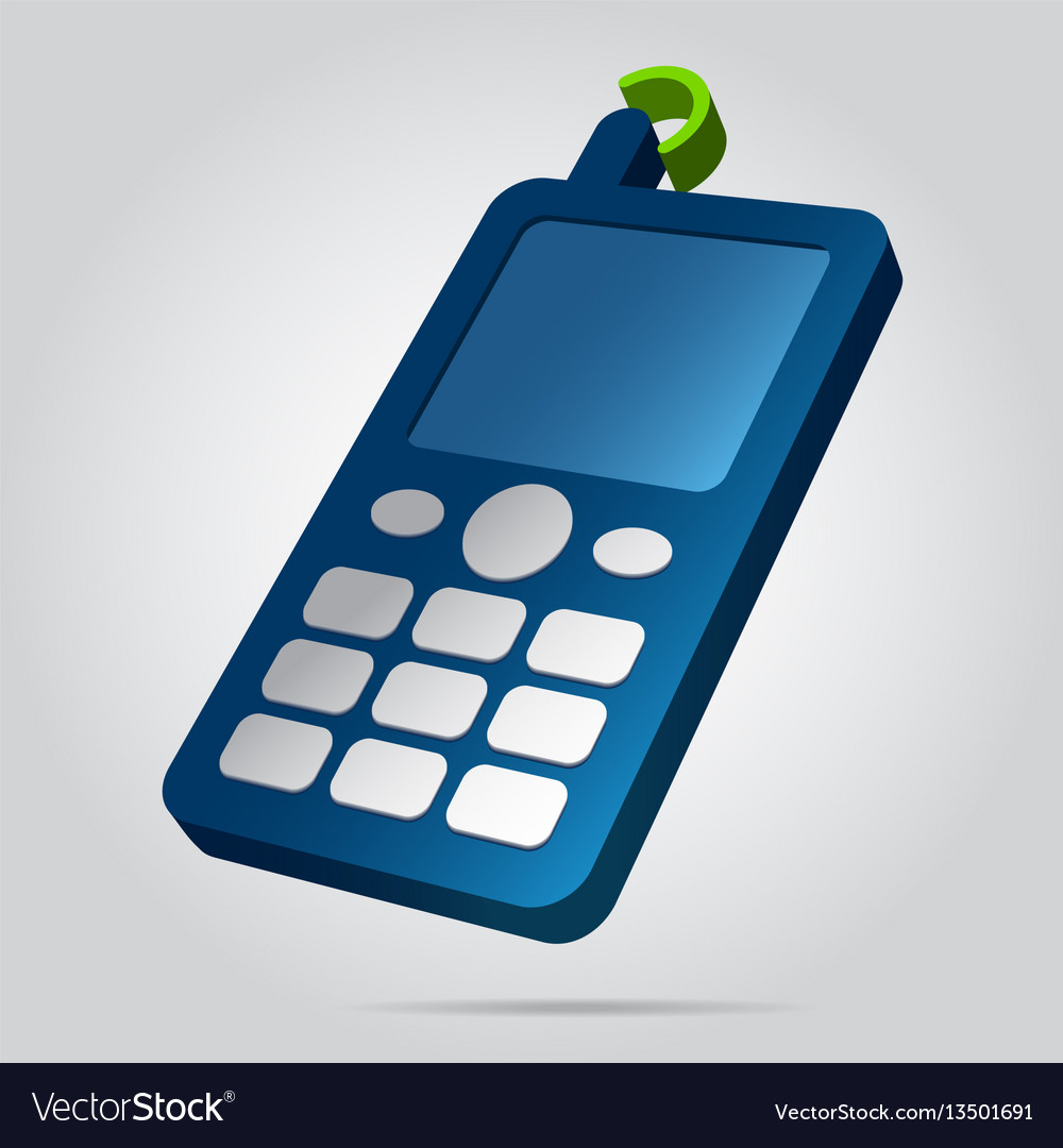 3d image - colored old mobile phone with antenna vector image