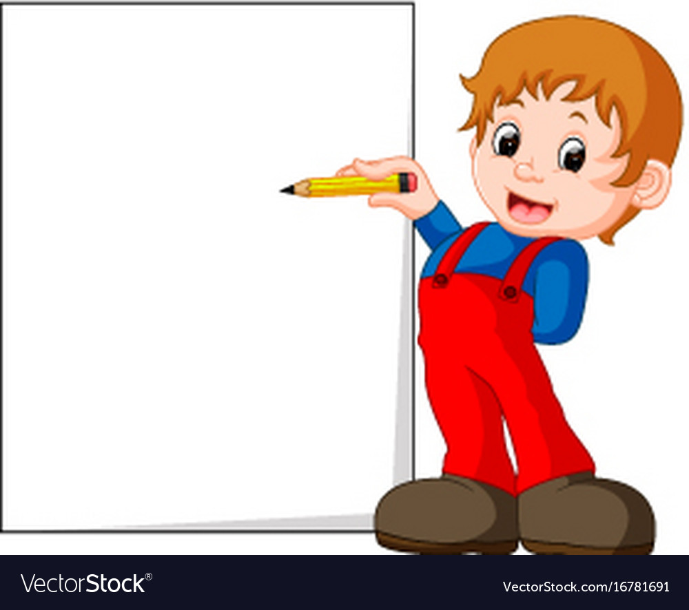 A kid writing letters vector image