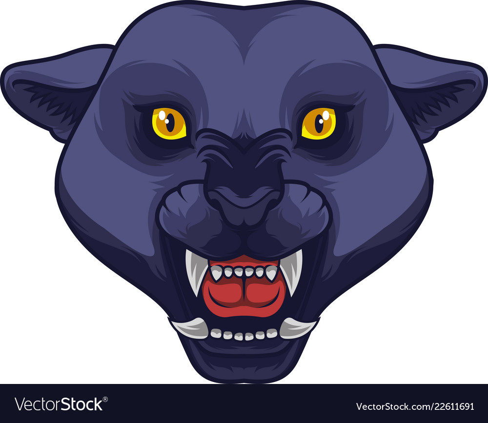 Angry black panther head mascot