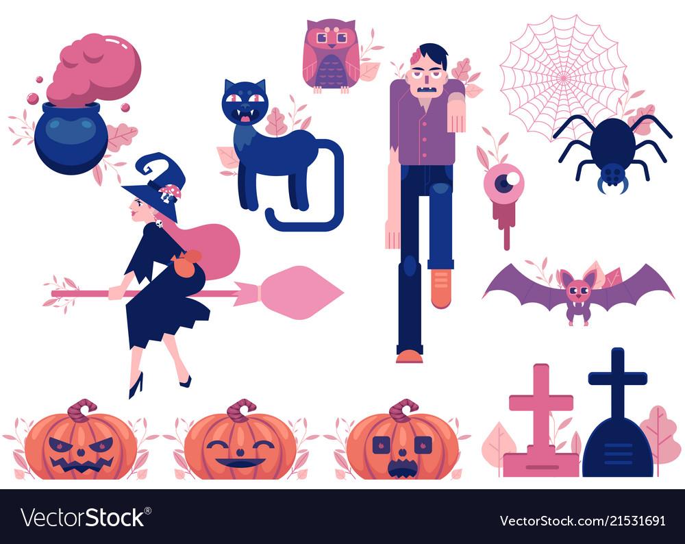 Cartoon halloween autumn holiday symbols