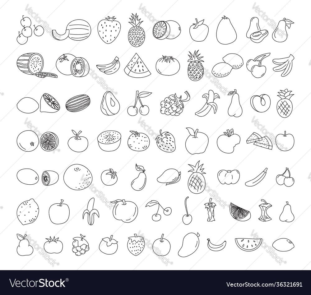 Fruit element doodle set doodle vegetarian