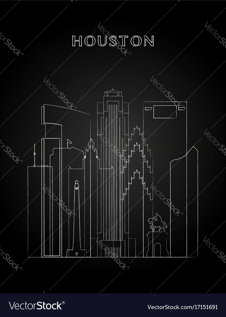Houston skyline with chalk drawing vector image
