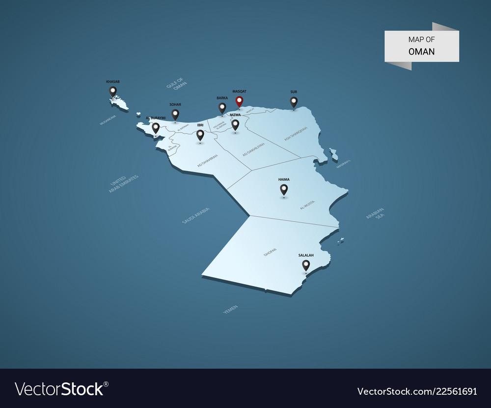 Isometric 3d oman map concept