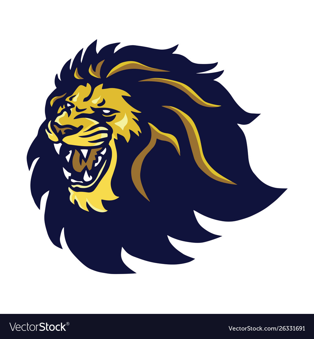 Lion head mascot roaring logo icon