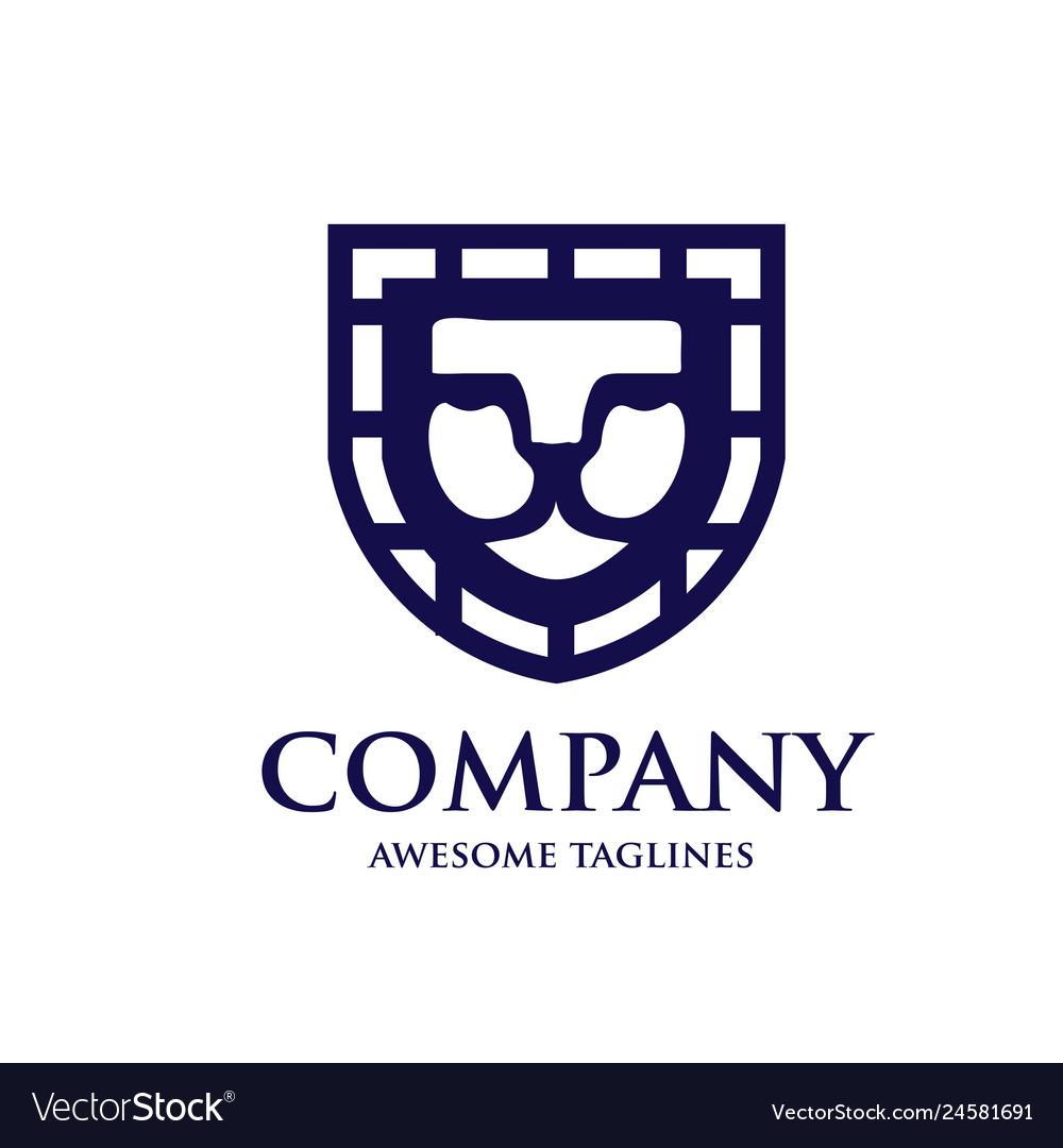 Lion shield logo design template
