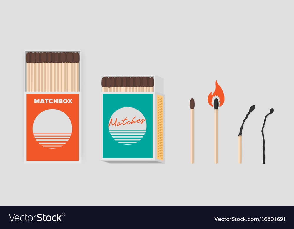 Match and matchbox set sticks in open cardboard