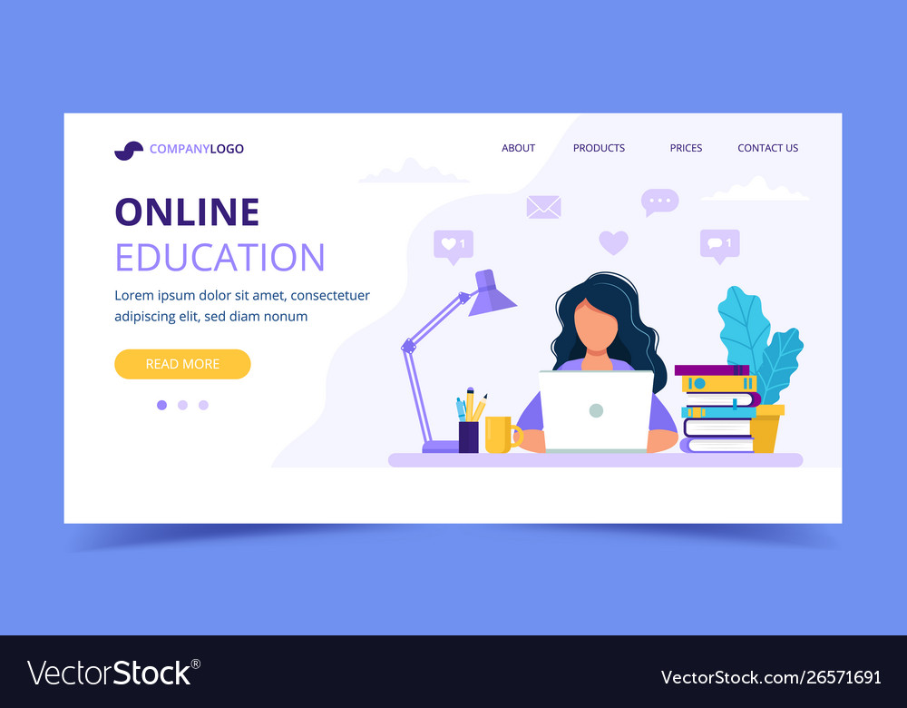 Online education landing page with a girl studying