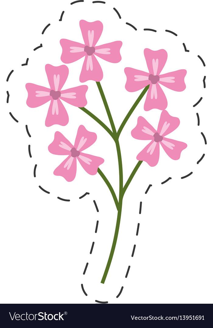 Pink flower decoration image cut line