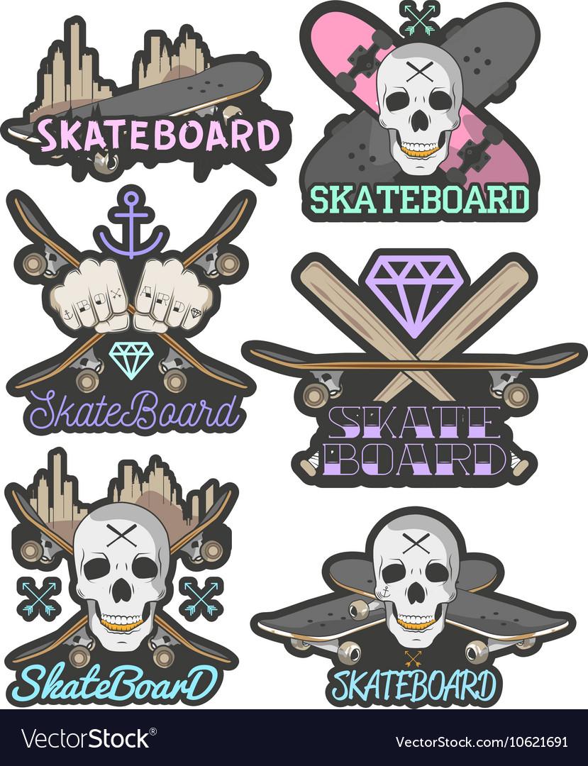 Set of colorful skateboard emblems