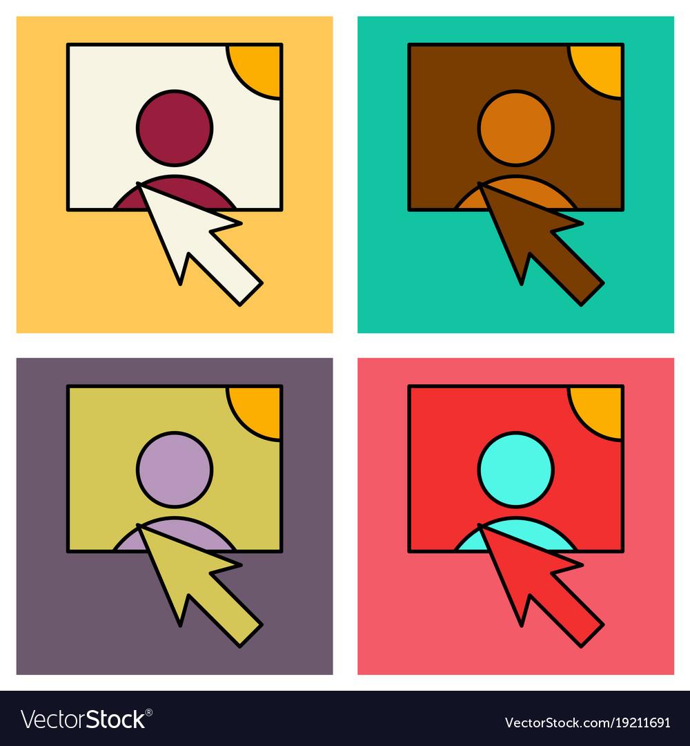 Set of web design elements picture mouse arrow