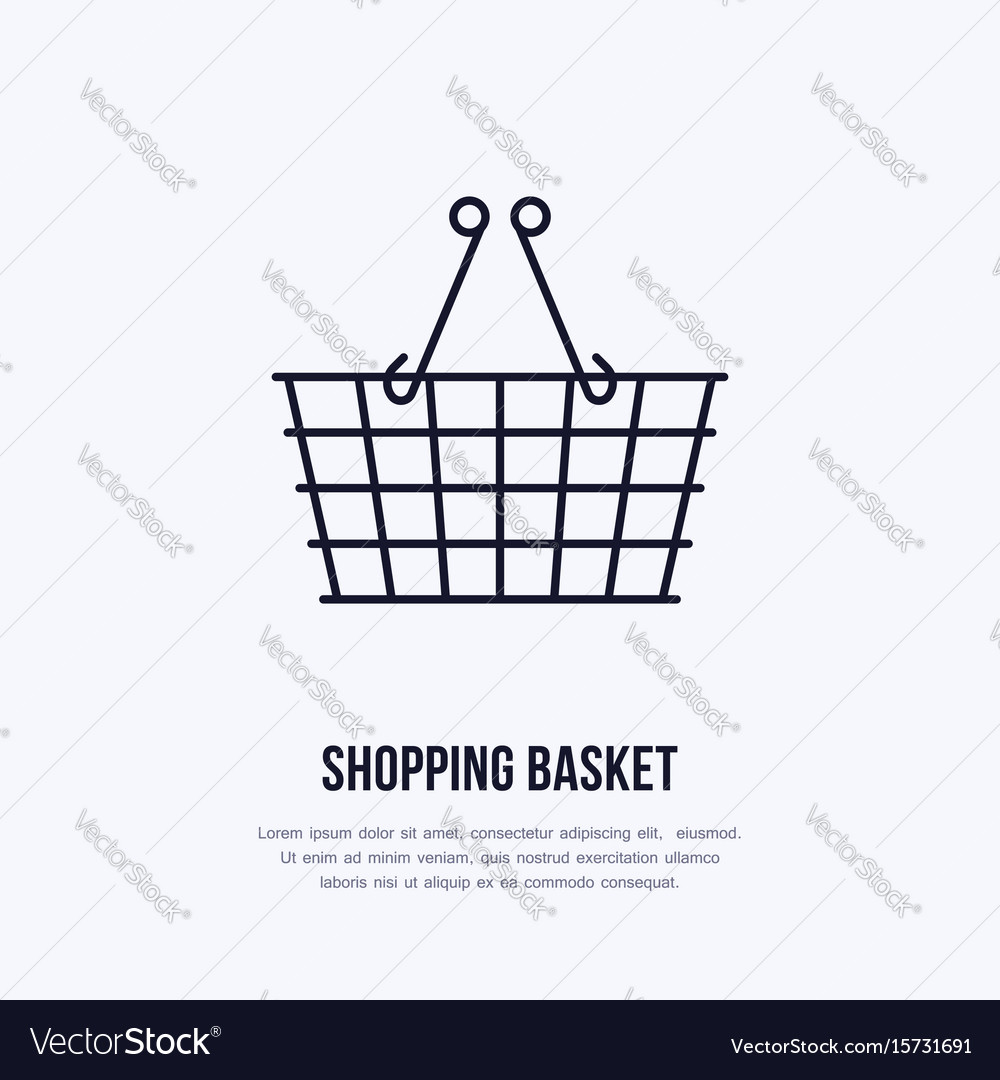 Shopping basket flat line icons retail vector image