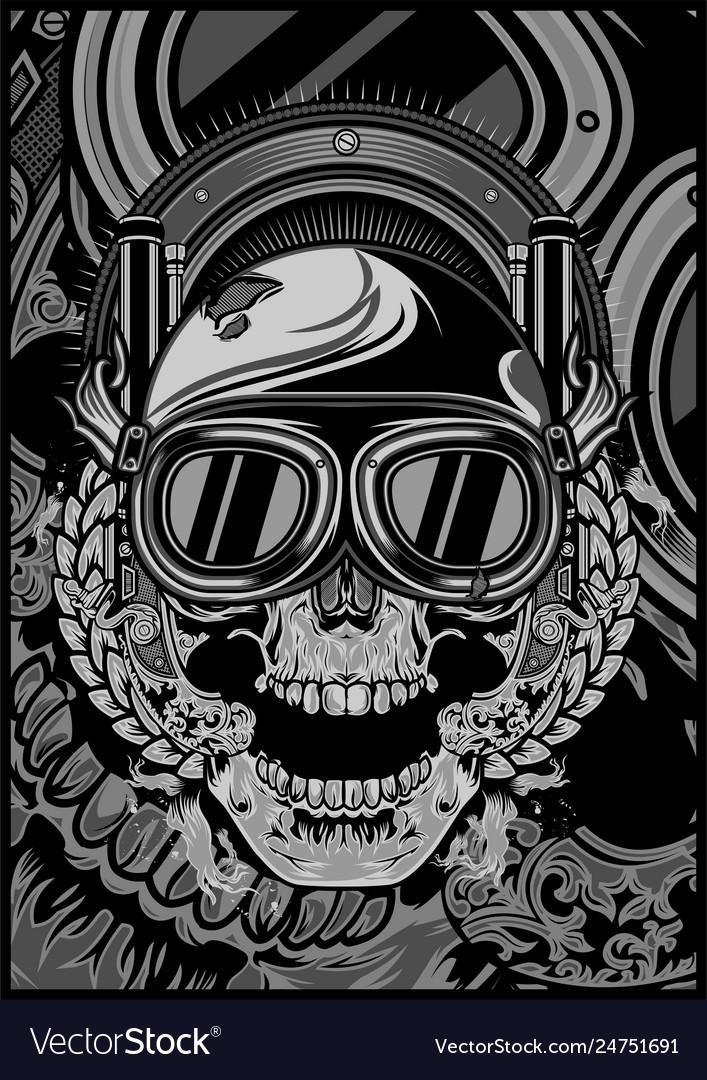 Skull wearing a helmet and a google cross hand