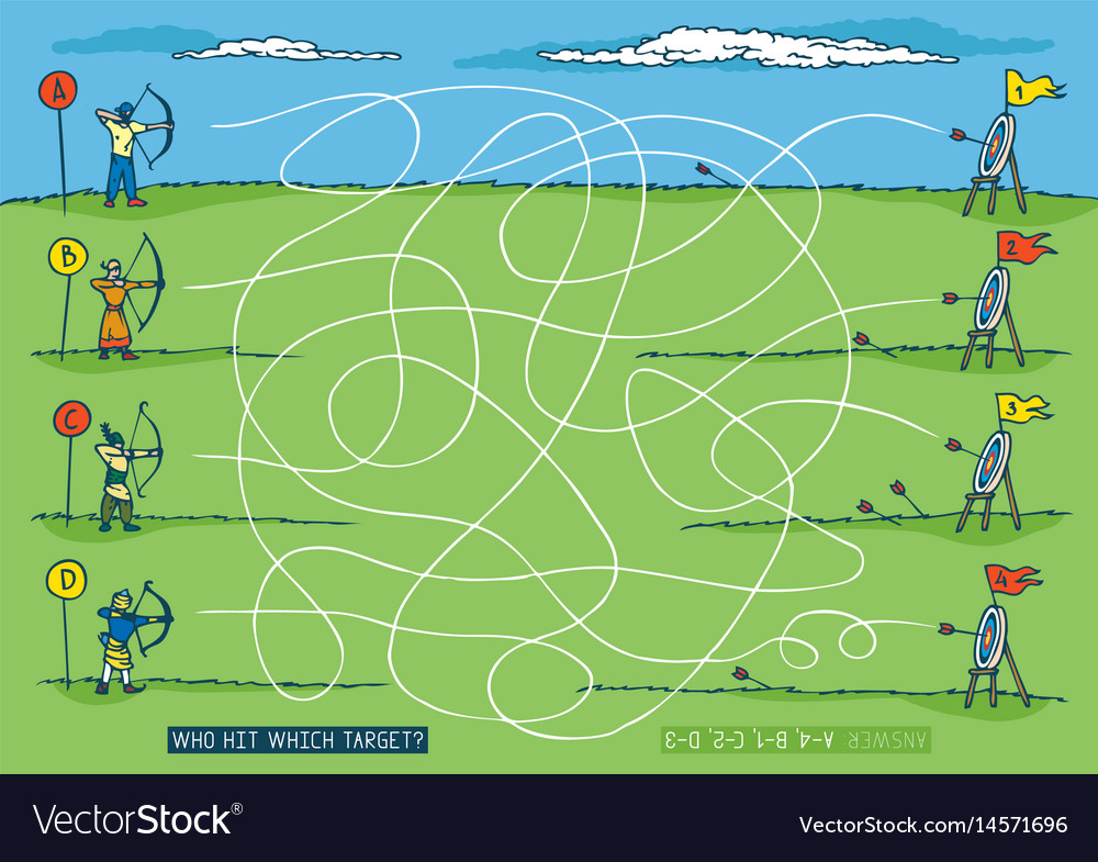 Archery sport competition maze game vector image