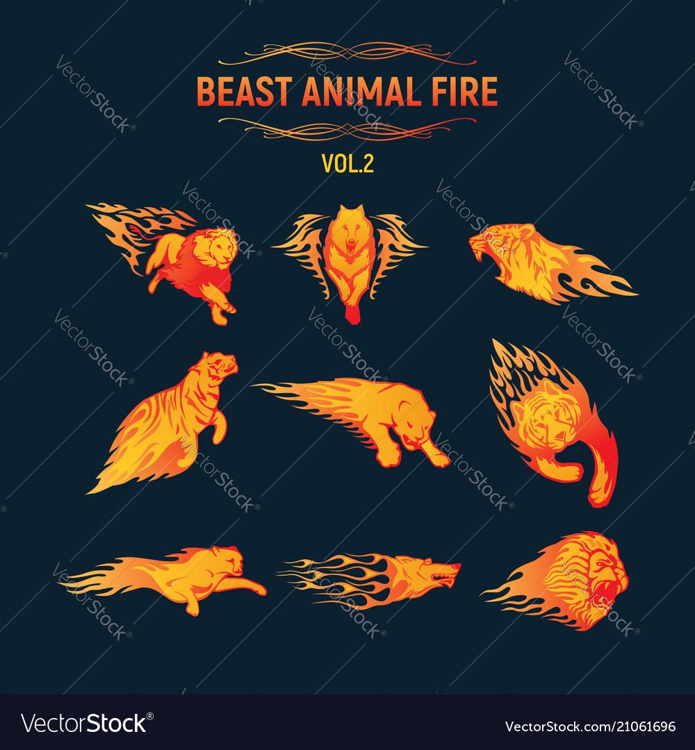 Beast animal flame set