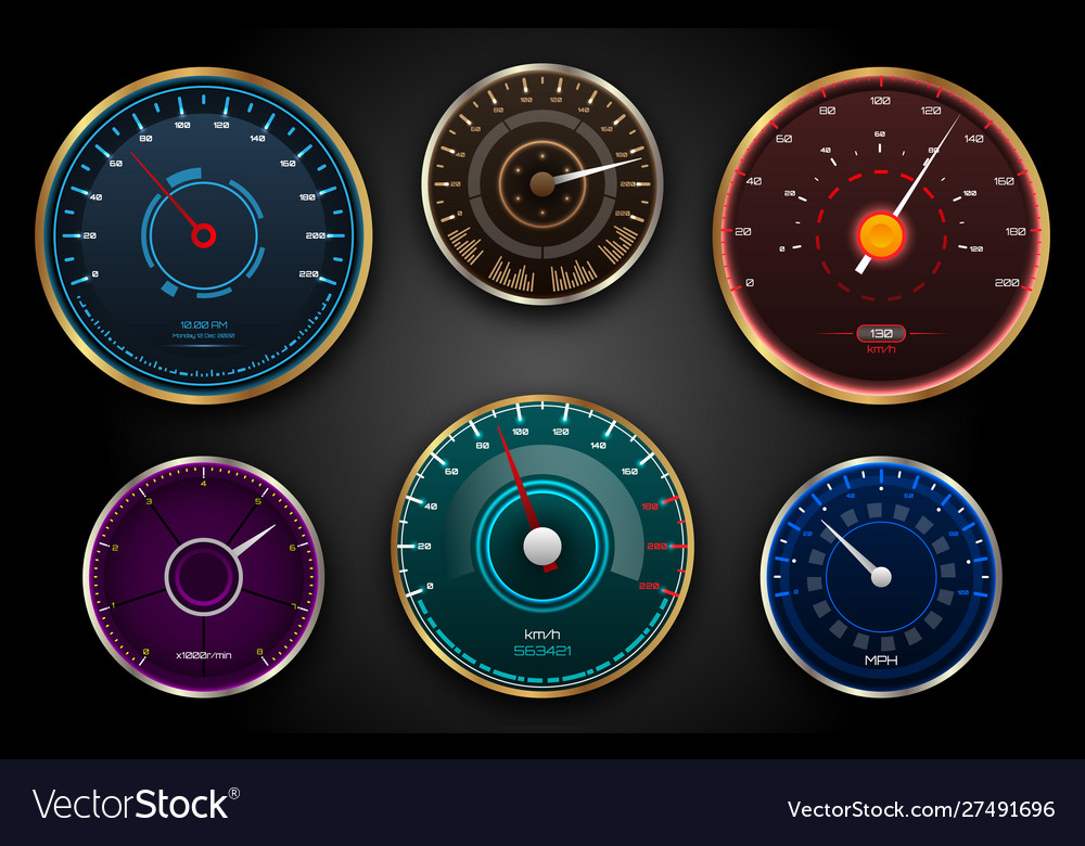 Collection speedometers pointers counters panel