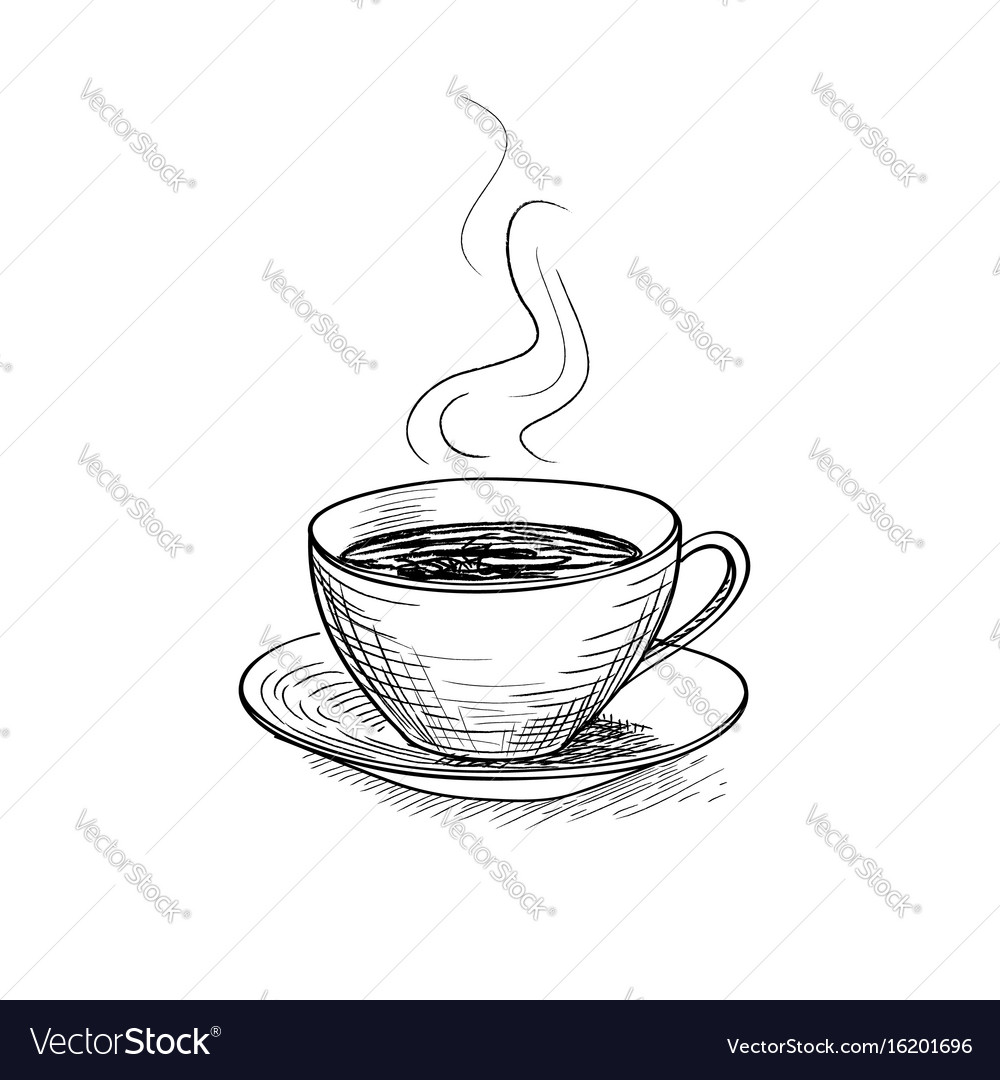 Cup of coffee engraving isolated coffee break icon