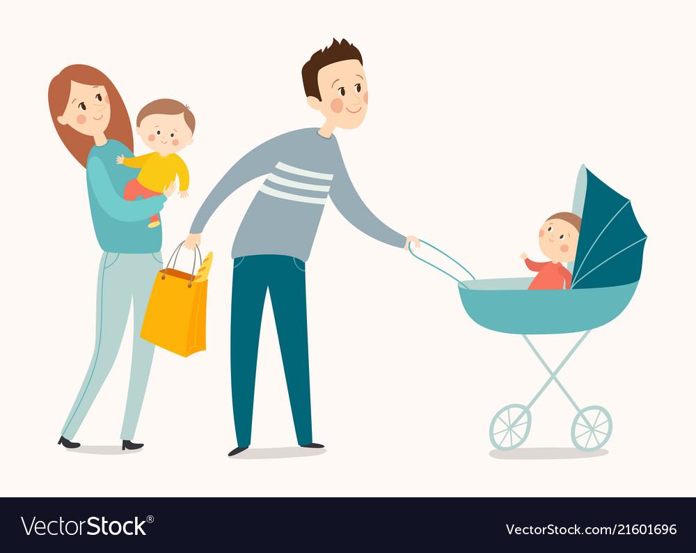 Happy family walking cartoon eps 10