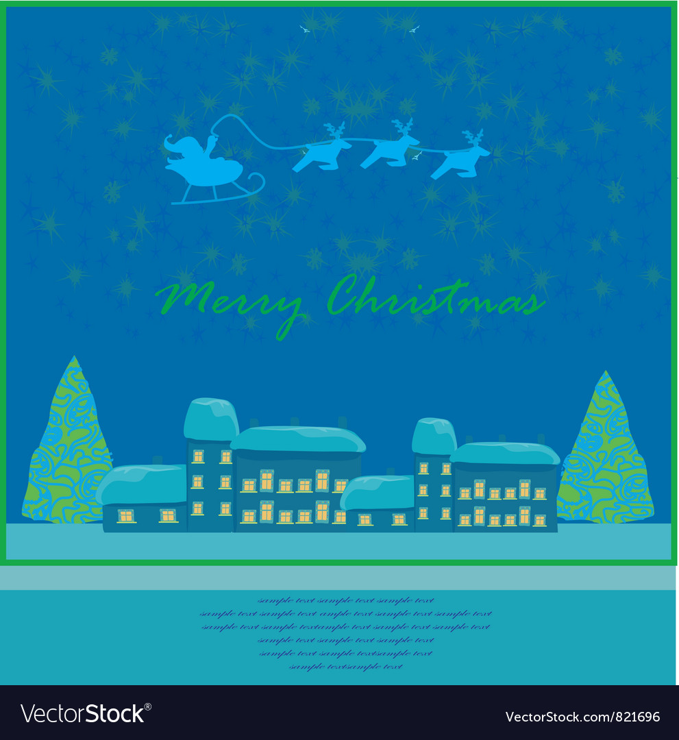 Happy New year card with Santa vector image