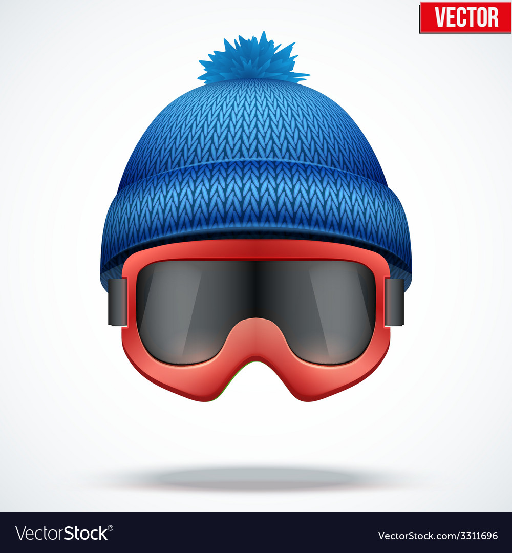 Knitted woolen blue cap with snow goggles Winter
