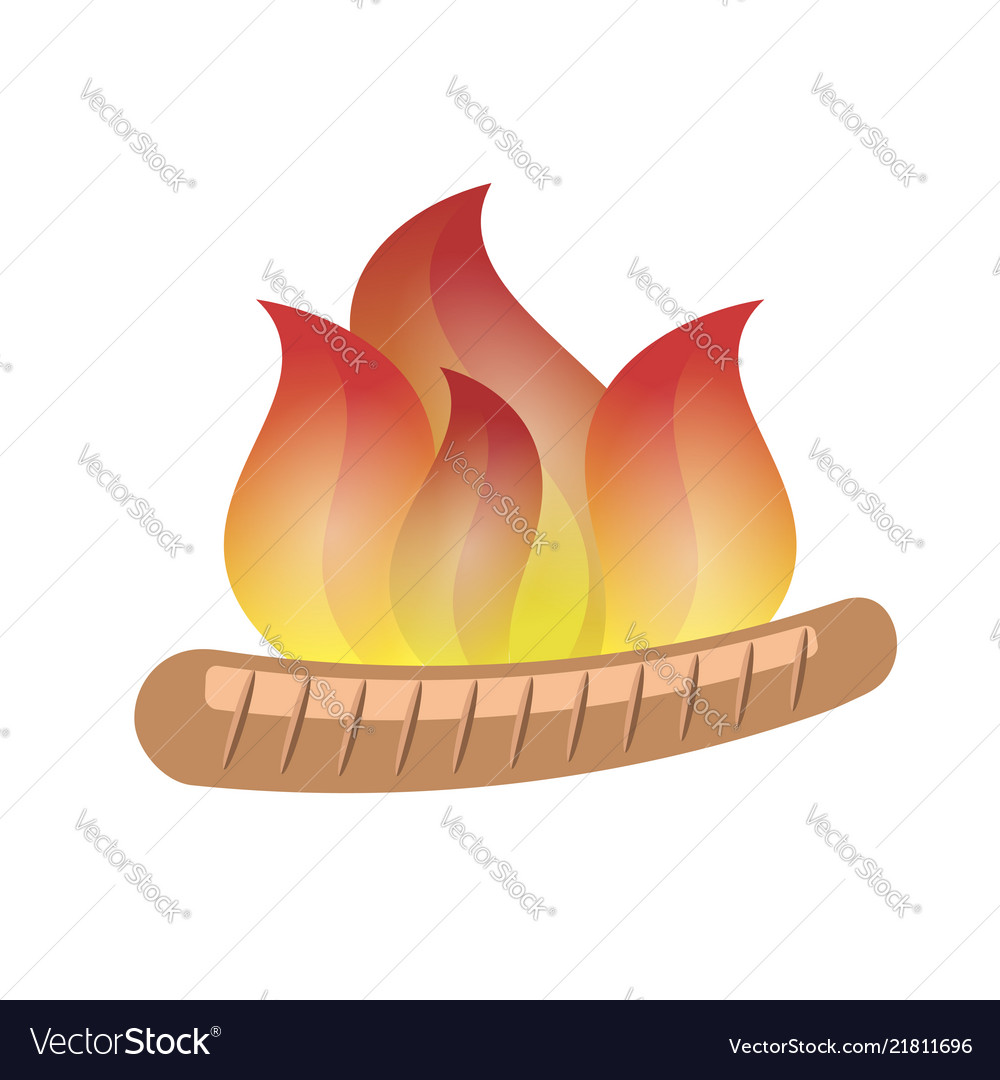 Single burning grill sausage with fire