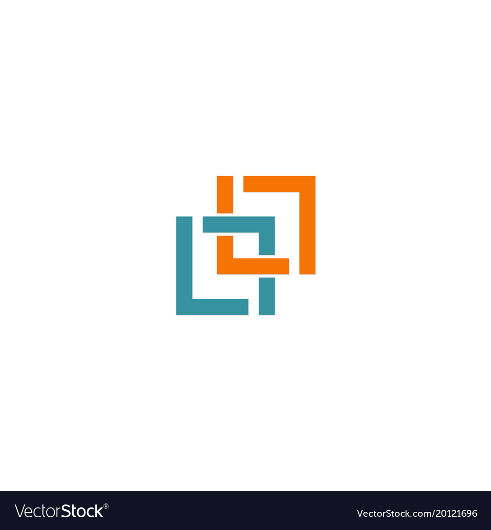 Square connection line colored company logo