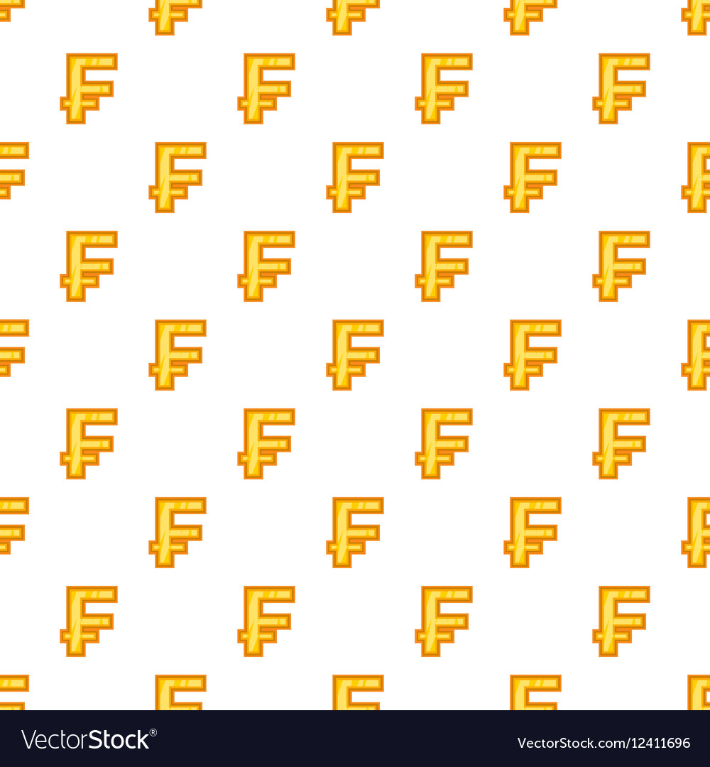 Swiss franc currency symbol pattern cartoon style vector image