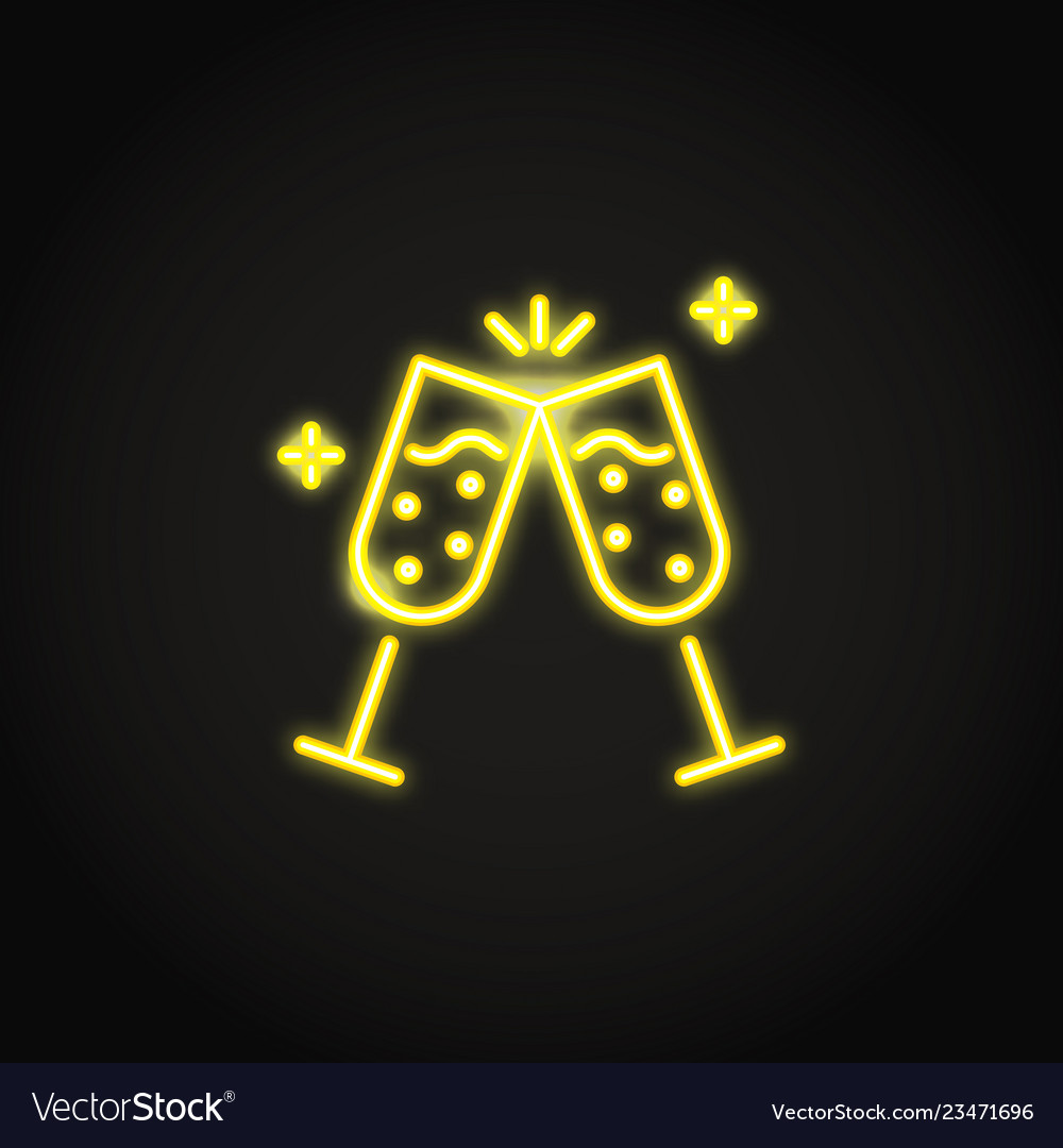 Two champagne glasses clink glowing neon icon
