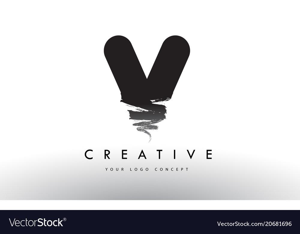 V brushed letter logo black brush letters design