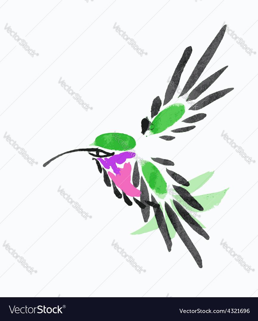 Watercolor blue hummingbird in flight